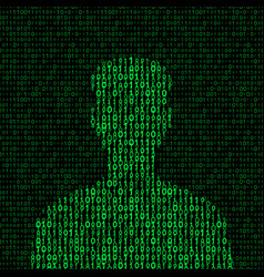 men silhouette with binary code vector image