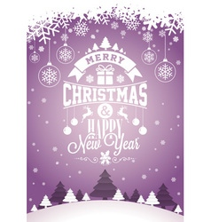 Merry Christmas design and winter landscape vector image vector image