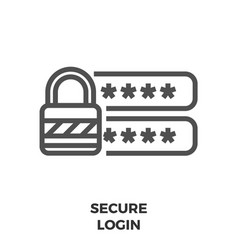 secure login line icon vector image vector image
