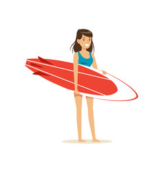 smiling brunette girl standing on the beach with vector image