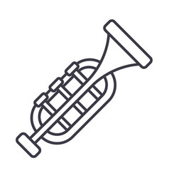 trumpethorn line icon sign vector image