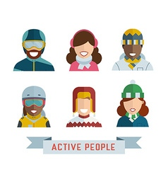 World Multinational Active People Icons vector image vector image