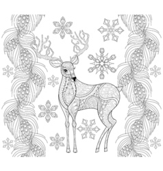 Zentangle reindeer with snowflakes fir pine branch vector image vector image