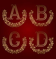 a b c d vintage monograms in floral wreaths vector image