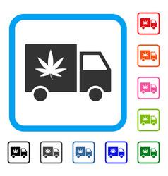 Cannabis delivery van framed icon vector