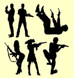 people using gun silhouette vector image vector image