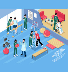 rehabilitation center nurses isometric poster vector image vector image