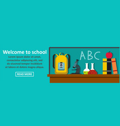 welcome to school banner horizontal concept vector image