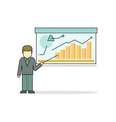 Businessman Making a Presentation Near Whiteboard vector image vector image