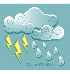 Cloud droplets and lightning vector image vector image