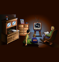 Family watching TV vector image vector image
