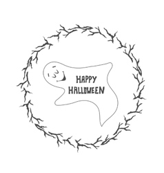 Happy Halloween card Funny ghost vector image vector image