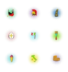Holiday in italy icons set pop-art style vector