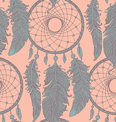 Seamless pattern with hand drawn dream catchers in vector image vector image