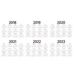 2018 2019 2020 calendar template year planner vector
