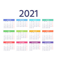 2021 french calendar template year color planner vector