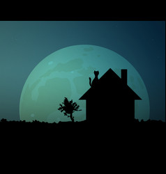 A huge moon glows in the night sky cat on the vector