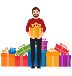 a man holds a gift a lot of gifts in the vector image