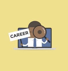 african businessman holding career sign vector image