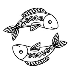 astrological pisces sign symbol two fishes vector image