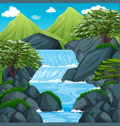 Background scene with waterfall in the mountain vector