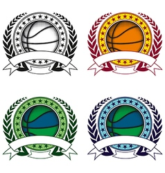 basketball emblem 4 vector image