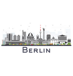 berlin germany city skyline with gray buildings vector image