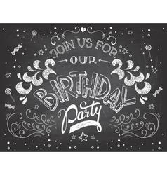 Birthday party invitation on chalkboard vector image