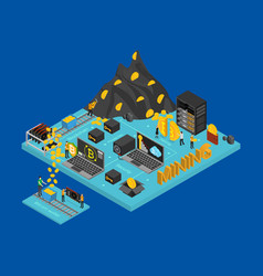 bitcoin mining concept card 3d isometric view vector image