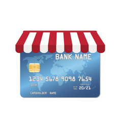 blue credit card with shopping store awning vector image