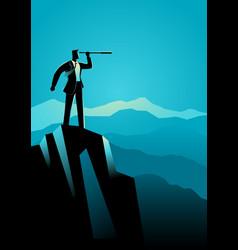 Businessman using telescope on top mountain vector