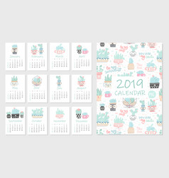 calendar 2019 set cute hand 12 with succulents vector image