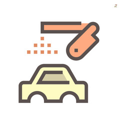 Car body paint work and robot icon design vector