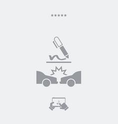 Car crash document sign - web icon vector