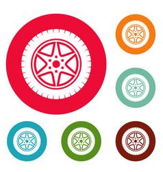 car wheel icons circle set vector image