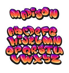Cartoon alphabet in style comics graffiti vector