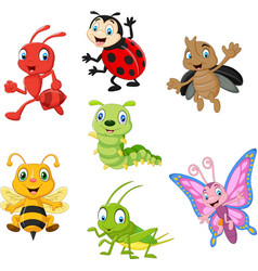 cartoon funny insect collection set vector image