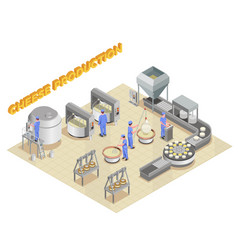 Cheese production isometric composition vector