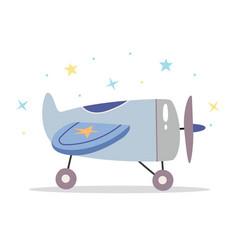 Children toy airplane in scandinavian retro style vector