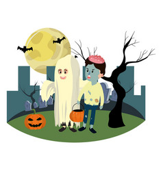 children with funny costumes and full moon vector image