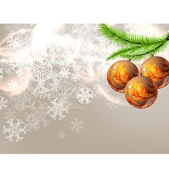 Christmas Background with Floral Patterned Baubles vector