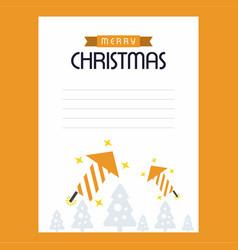 christmas card with yellow theme vector image