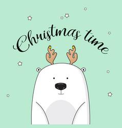 christmas invitation with polar bear on new vector image