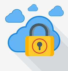 Cloud storage security concept in flat desi vector