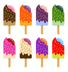 Collection of colorful ice cream popsicle with vector