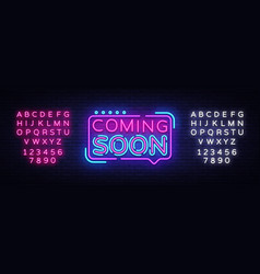 Coming soon neon sign coming soon badge in vector