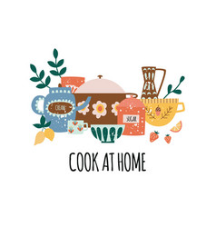 composition crock kitchenware with text in flat vector image