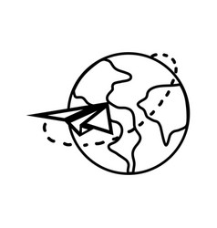 Contour global earth planet with paper airplane vector