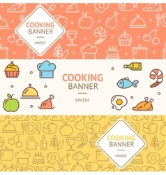 Cooking Banner Flyer Horizontal Set vector image