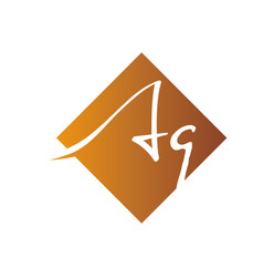 Creative initial letter aq square logo design vector
